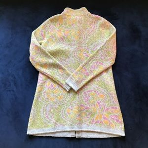 Sundance Sweaters - SUNDANCE YELLOW GREEN PINK LAMBSWOOL LONG CARDIGAN